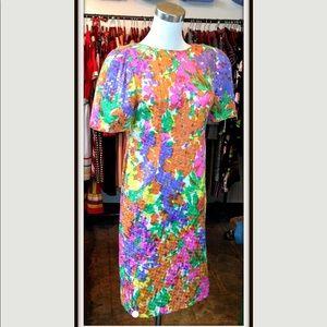 Dresses & Skirts - Vintage Multi Color Floral Sequin Dress Drape
